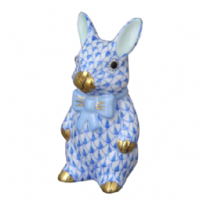 Herend Porcelain Fishnet Figurine of a Bunny with Bowtie